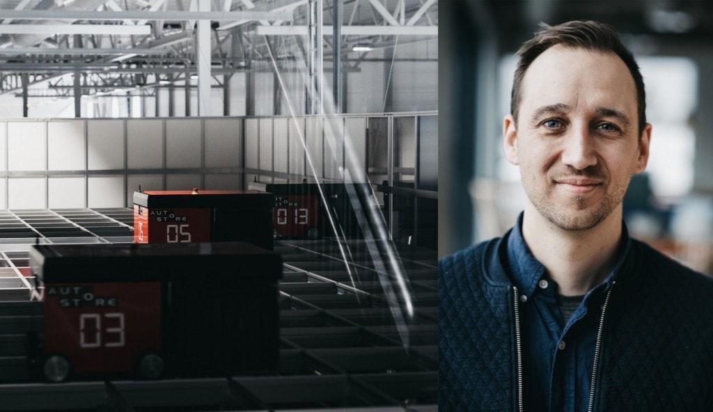 Niklas Poulsen z Element Logic i AutoStore w magazynie Berggaard Amundsen